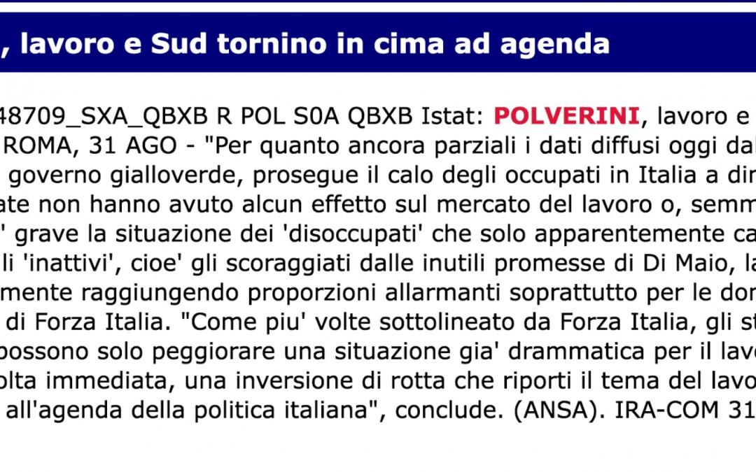 L'Istat certifica il fallimento delle politiche sul lavoro del Governo gialloverde